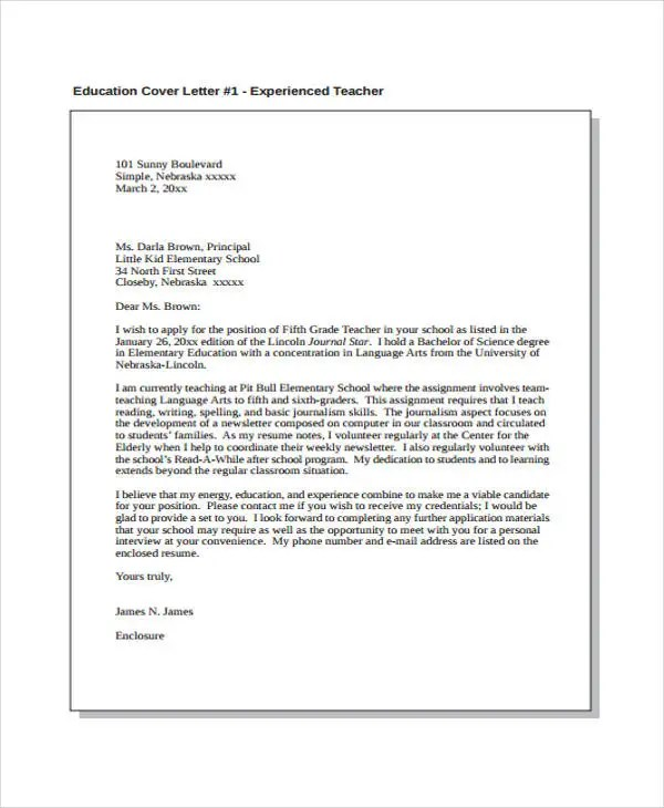 Job Cover Letter - 10+ Free Word, PDF Format Download Free - education cover letters