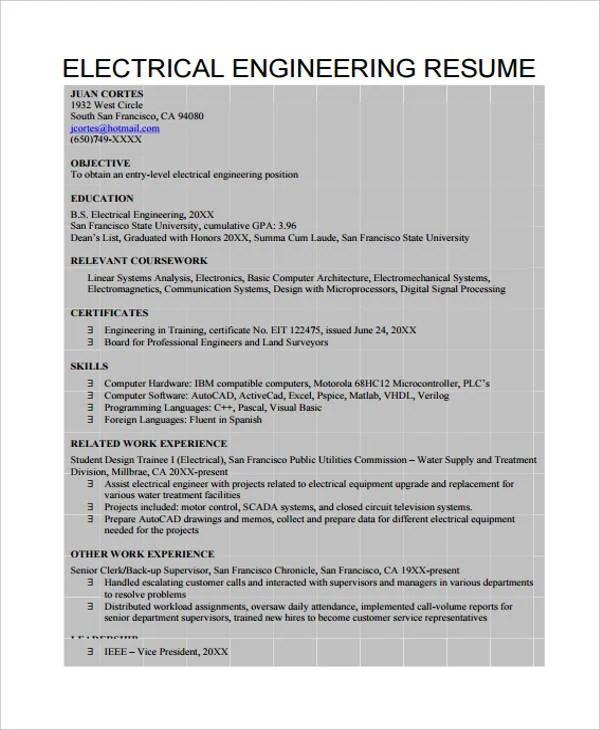 10+ Engineer Resumes Templates - PDF, DOC Free  Premium Templates