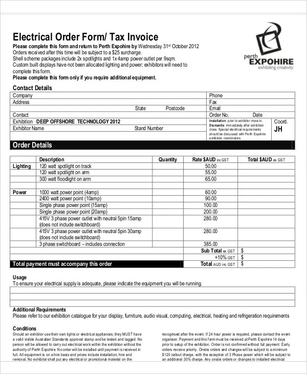 Electrical Invoice Templates - 5+ Free Word, PDF Format Download - essential invoice elements