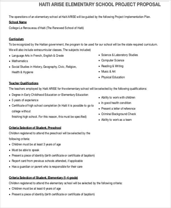 School Project Proposal Templates - 10+ Free Word, PDF Format