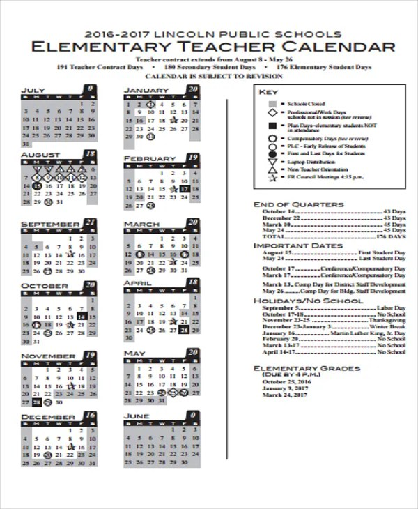 Teacher Calendar Templates - 7+ Free Word, PDF Format Download