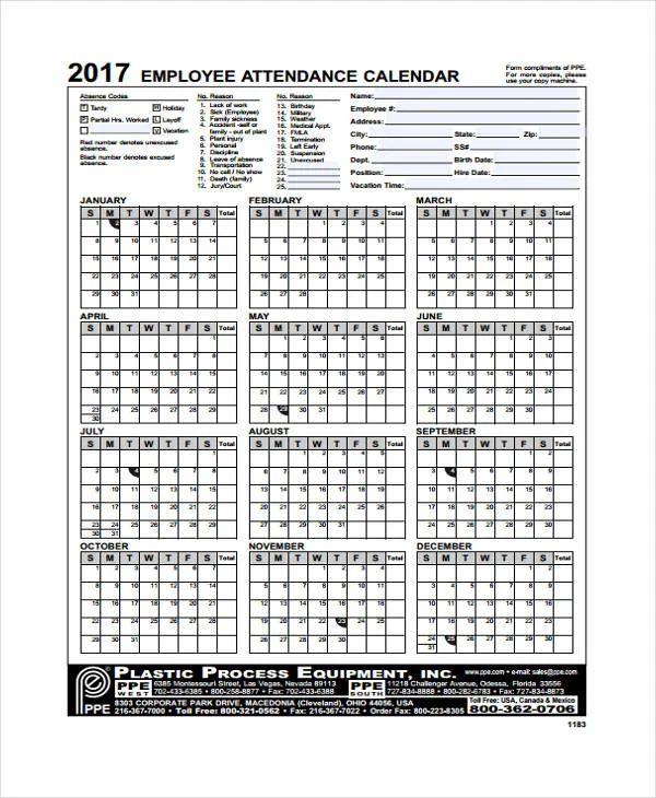 free printable 2019 attendance calendar