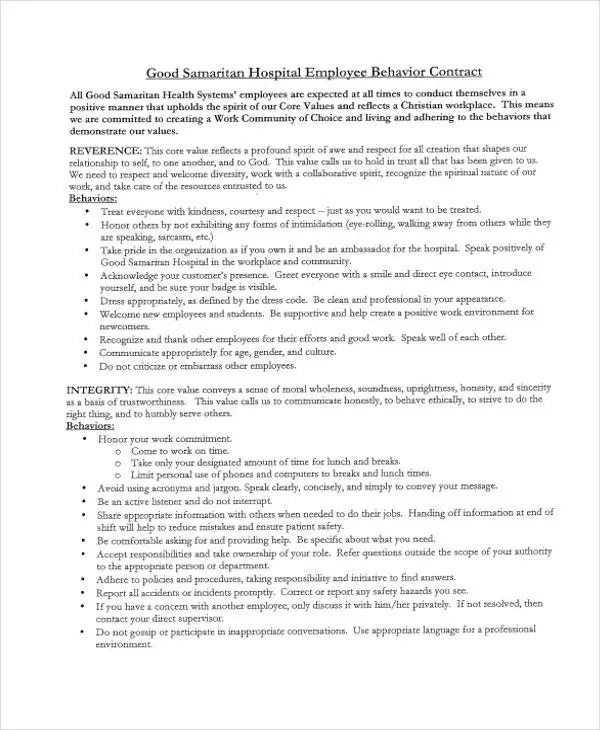 6+ Behavior Contract Templates - Free Word, PDF Format Download - sample behavior contract