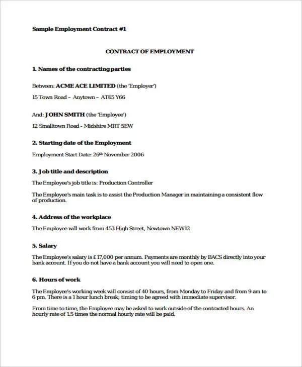 Employment Contracts Employment Contract Sample Free Printable - executive employment contract