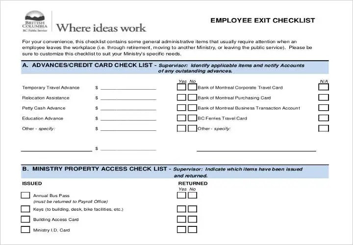 Employee Exit Form Template - Fiveoutsiders