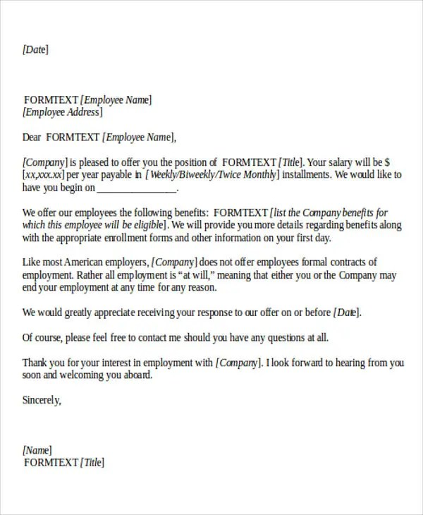 7+ Job Offer Thank-You Letter Templates - Free Samples, Examples - what can you offer me