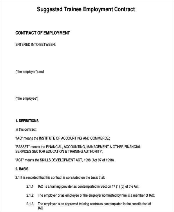 Modern Sample Employment Contract Festooning - Resume Ideas - bayaar - sample employment contract