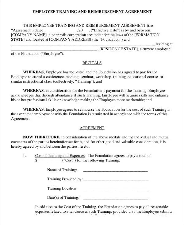 Employee Training Contract Sample sample hr form employee - training agreement contract