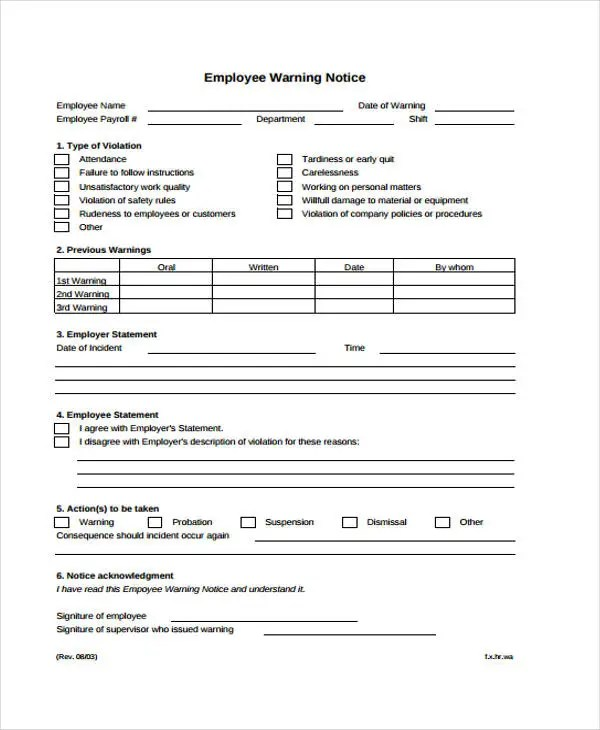 7+ Warning Notice Templates - Google Docs, MS Word, Apple Pages, PDF