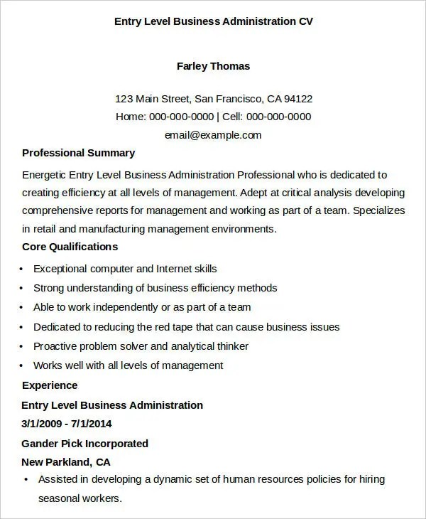 Business Curriculum Vitae Template - 8 Free Word, PDF Documents