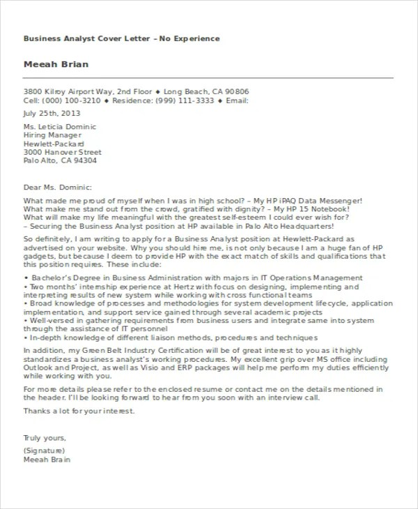8+ Business Cover Letter Examples Free  Premium Templates - business cover letters