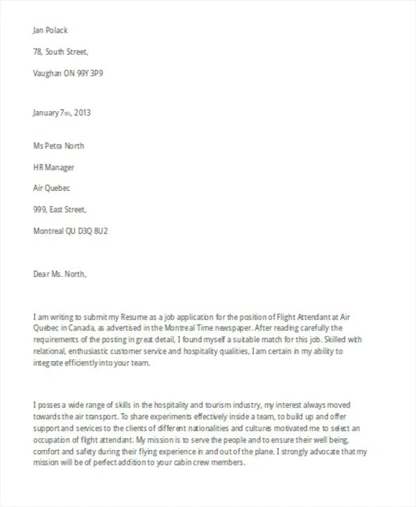 Flight Attendant Cover Letter - 9+ Free Word, PDF Format Download - cover letter for entry level job