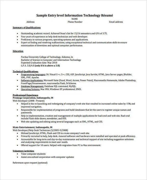 10+ Printable Information Technology Resume Templates - PDF, DOC - Technology Resume