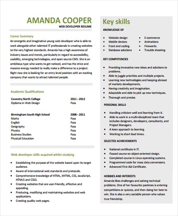 Entry Level Web Developer Resume Cover Letter