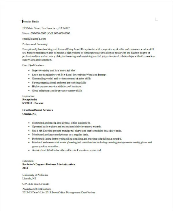10+ Receptionist Resumes - Free Sample, Example Format Download - entry level receptionist resume