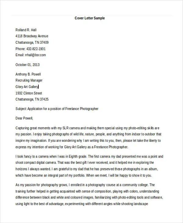 Photographer Cover Letters - 10+ Free Word, PDF Format Download - Photographer Cover Letter Sample