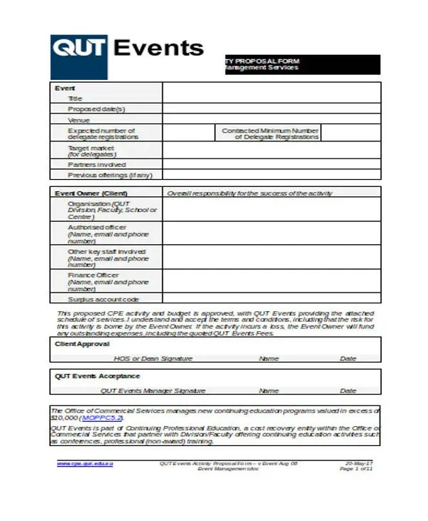 Corporate Event Proposal Templates - 7 Free Word, PDF Format