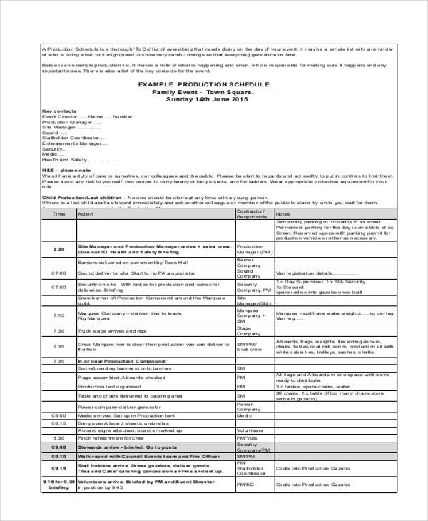 event production schedule template - Vatozatozdevelopment
