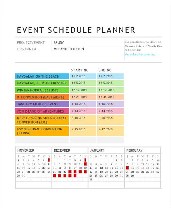 41+ Schedule Templates Free \ Premium Templates - event timetable template