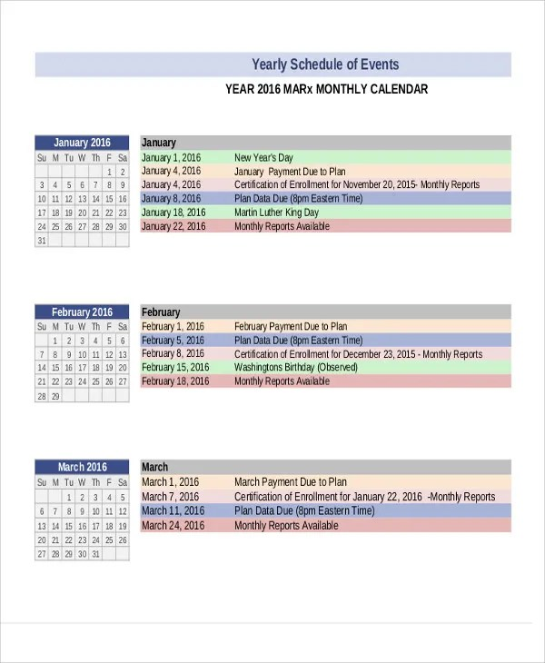 8+ Yearly Schedule Templates - Sample, Examples Free \ Premium - event timetable template