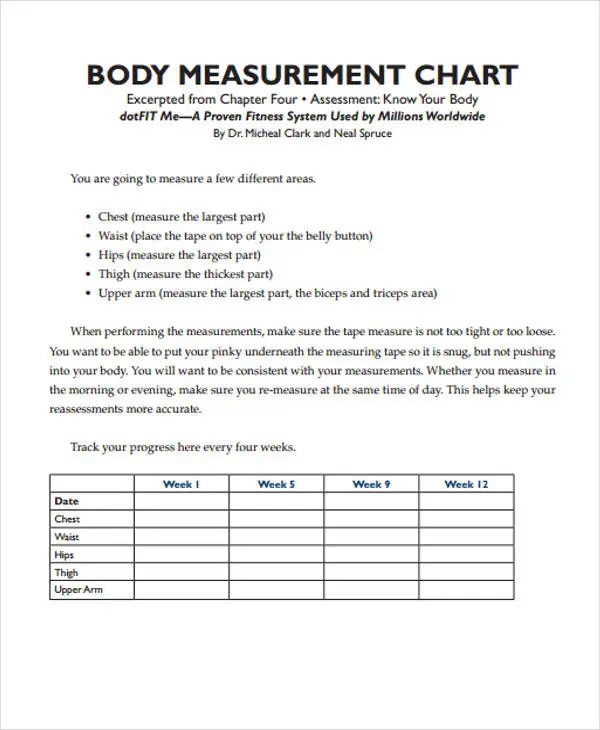 Measurement Chart Templates - 9+ Free Word, PDF Format Download