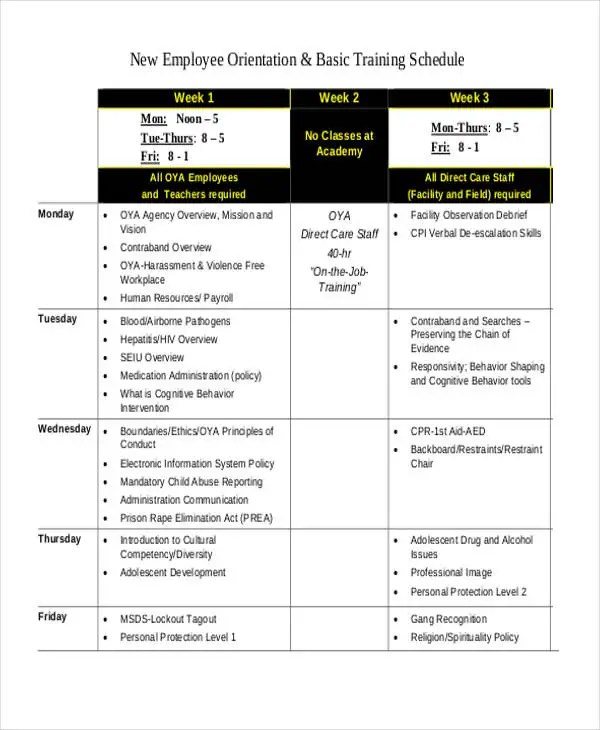 13+ Employee Training Schedule Template - Free Sample, Example