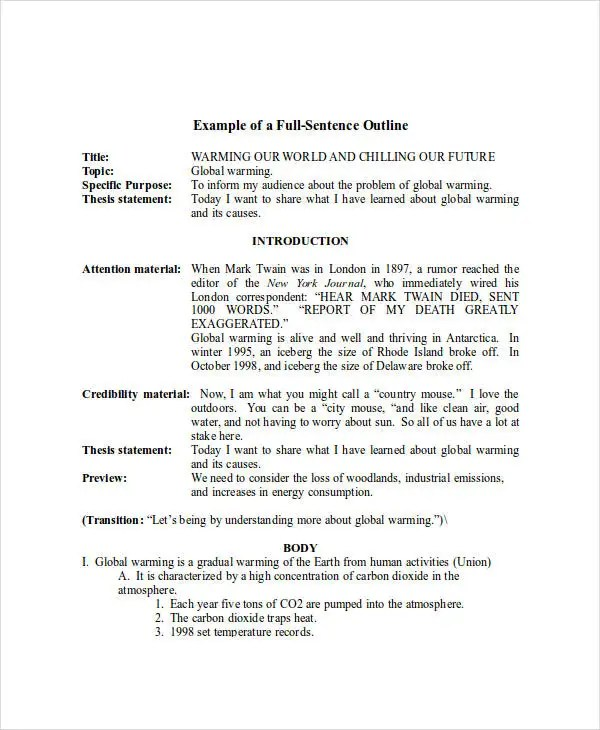 Formal Outline Example Choice Image - example of resume for student