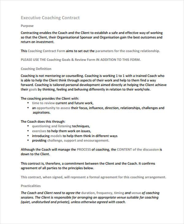 11+ Coaching Contract Templates - Word, Docs Free  Premium Templates