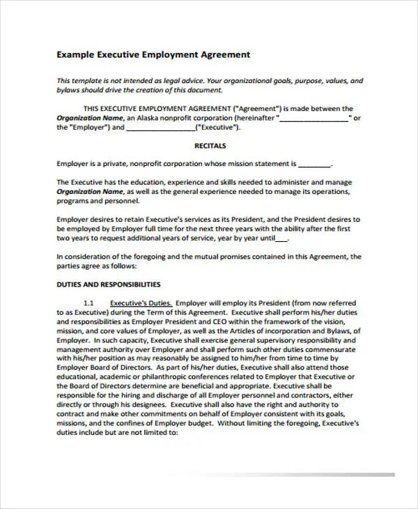 Employment Agreement Templates - 8+ Free PDF Format Download Free - executive employment contract