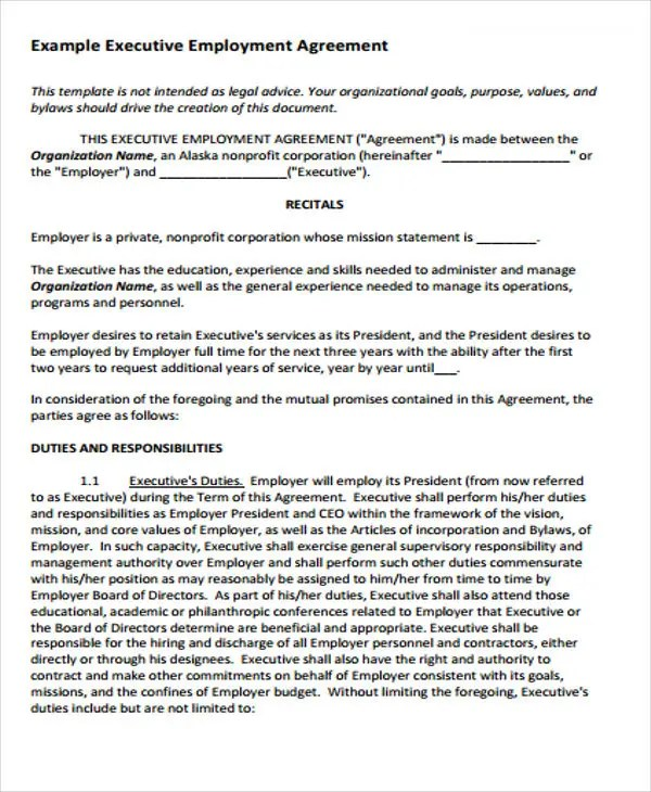 35+ Agreement Templates Free  Premium Templates - executive employment contract