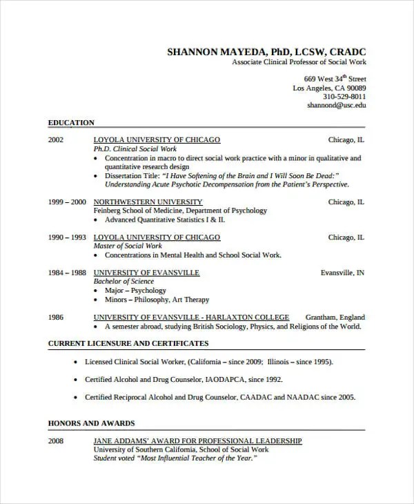 9+ Social Worker Resumes - Free Samples, Examples Format Download - resume social worker