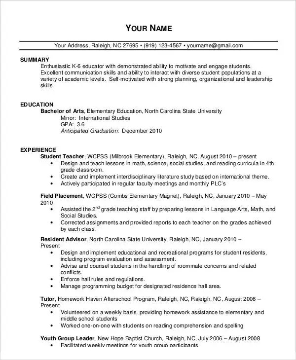 20+ Simple Teacher Resume Templates - PDF, DOC Free  Premium - Reading Teacher Resume