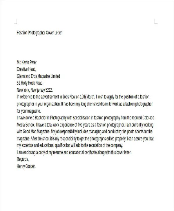 8+ Photographer Cover Letter Templates - Free Sample, Example Format - Photographer Cover Letter Sample