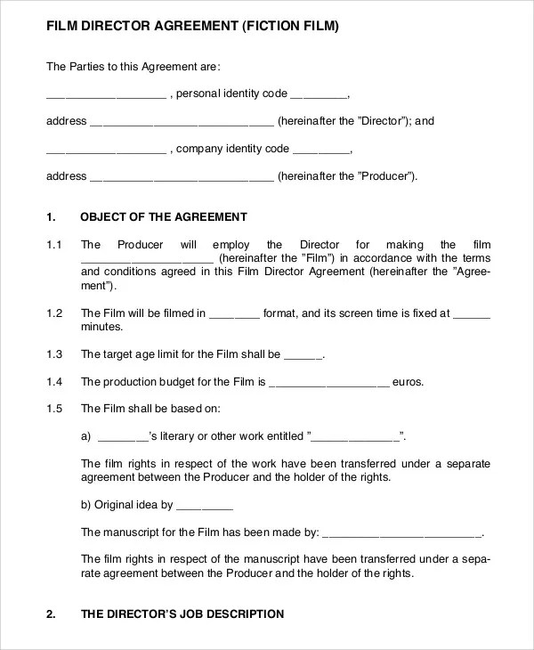 film contract templates lukex - job agreement contract