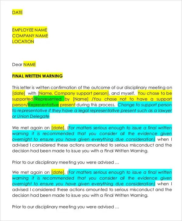 30+ Warning Letter Templates Free  Premium Templates - writing warning letter for employee conduct