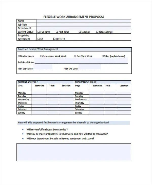 schedule of work template