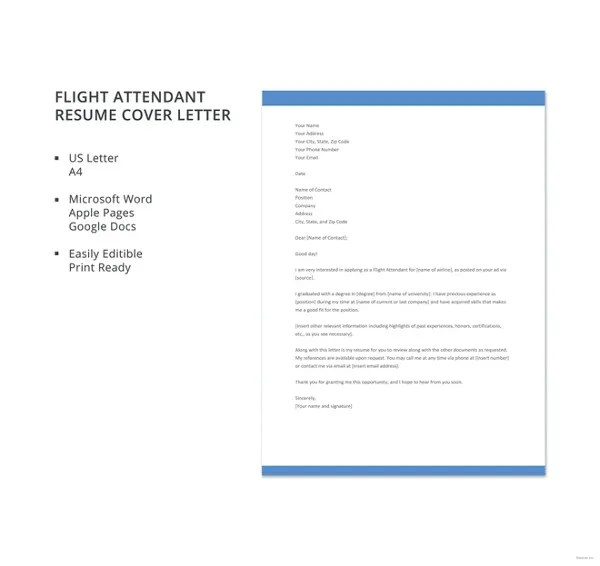 8+ Flight Attendant Cover Letter Templates - Sample, Example Free