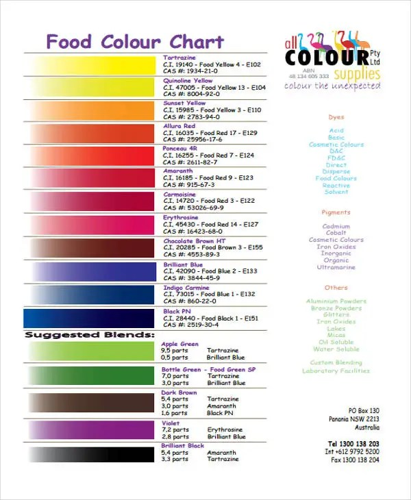 10+ Color Chart Templates - Samples, Examples Free \ Premium - color chart template