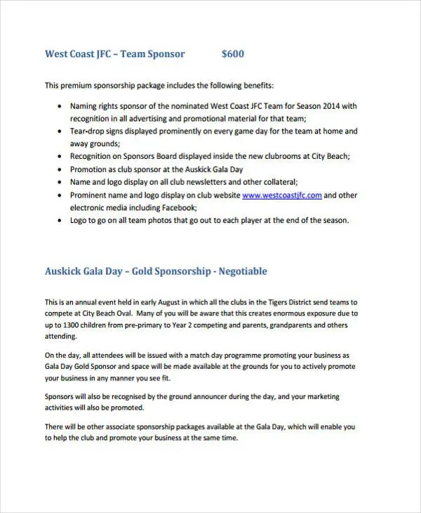 Club Sponsorship Proposal Template - 9+ Free Word, PDF Format