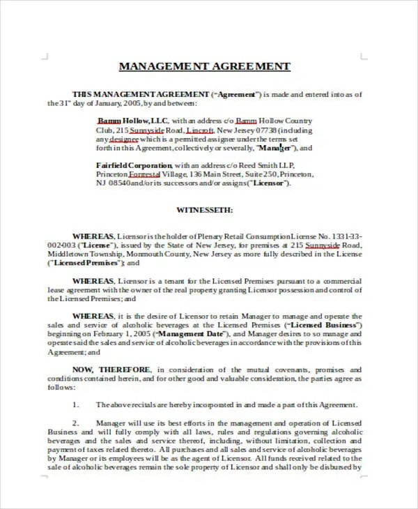 Management Agreement Templates -11 Free Word, PDF Format Download - management contract template