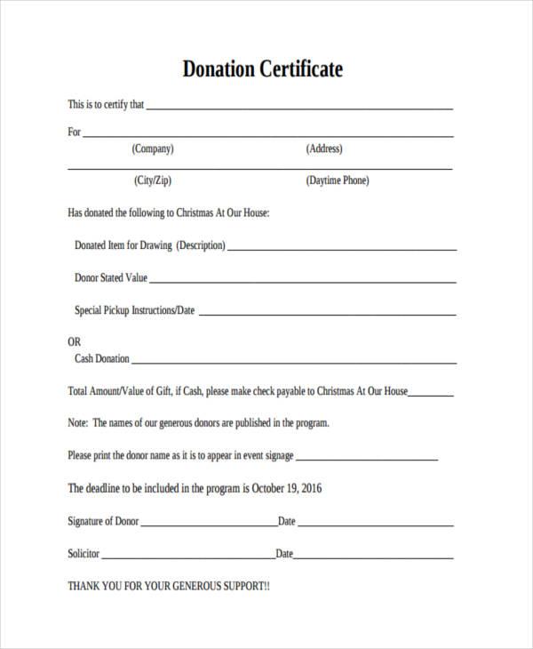 32 Certificate Templates in PDF Free \ Premium Templates - donation certificate template