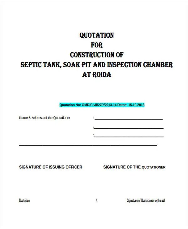 Construction Quotation Templates - 13+ Free Word, PDF Format