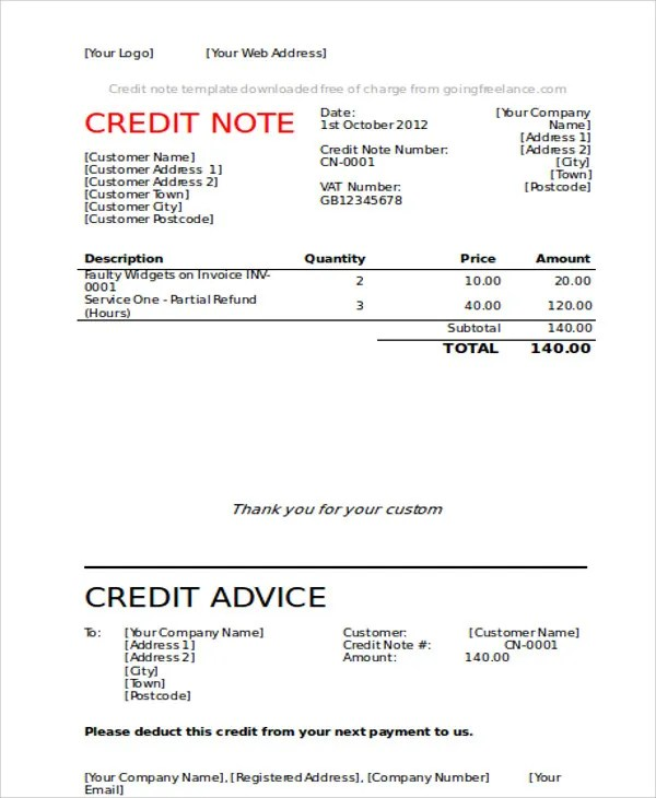 7 Credit Note Templates - Free Sample, Example Format Download