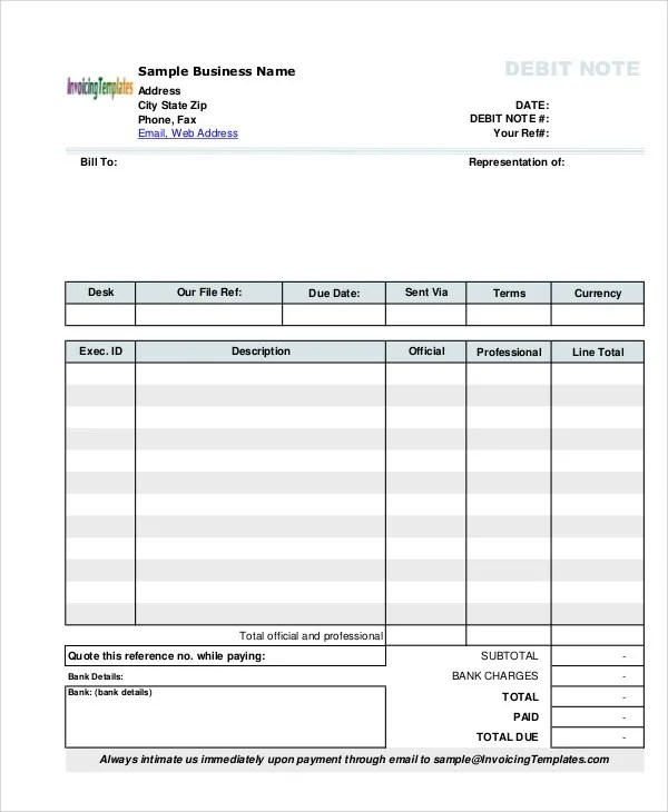 sample debit note format