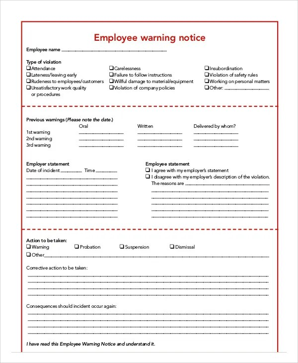 Employee Warning Notice Templates - 7 Free Samples, Examples Format