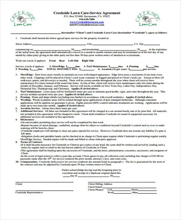 10+ Lawn Service Contract Templates - Free sample, Example Format