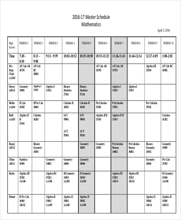 Master Schedule Templates - 11 Free Samples, Examples Format - master schedule template