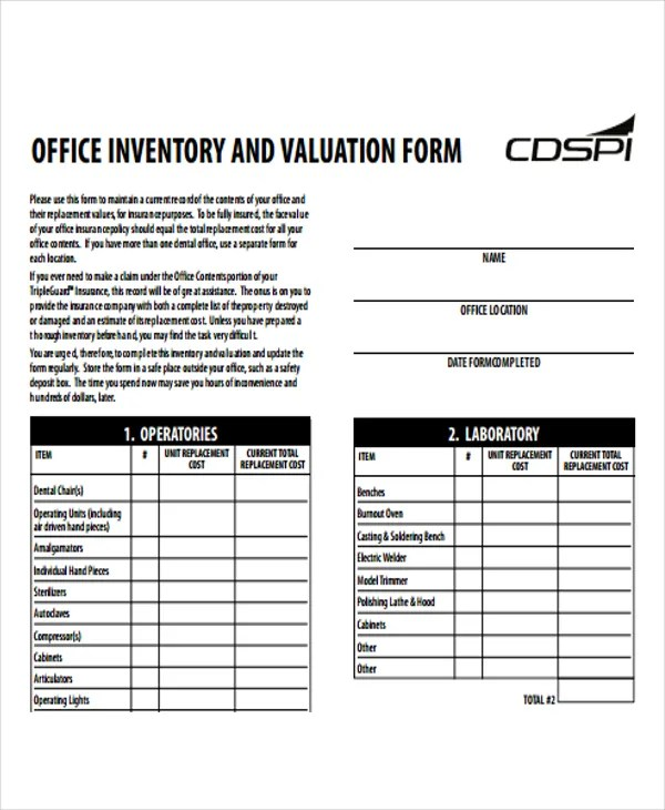 6+ Office Inventory Templates -Word, PDF Free  Premium Templates