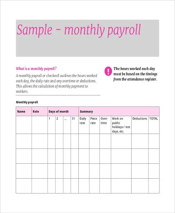 7+ Payroll Sheet Templates - Free Sample, Example Format Download