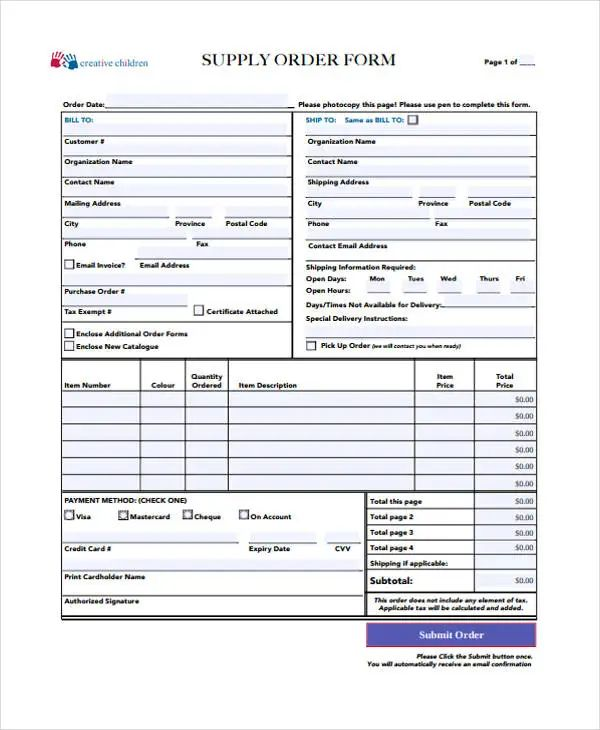 sample form of purchase order